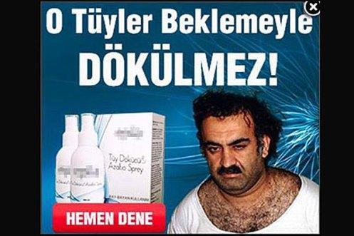 Cosmetics company Hemen Dene used a March 2003 image of Khalid Sheikh Mohammad, hair removal